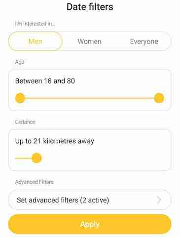 Bumble date filters