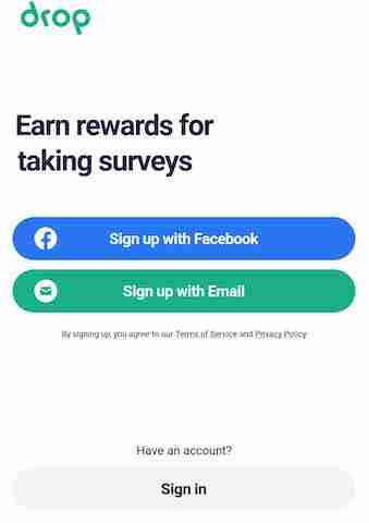 Drop app review sign up page