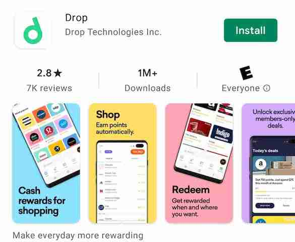 Drop app review install page